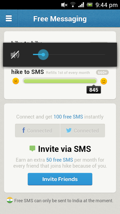 Get free sms using hike