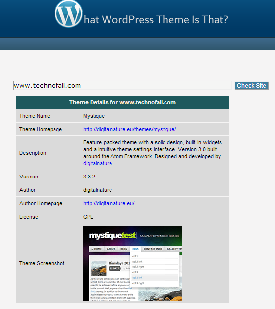 Find theme name of wordpress website
