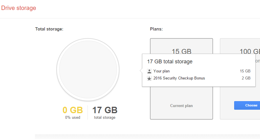 2GB Google drive free storage