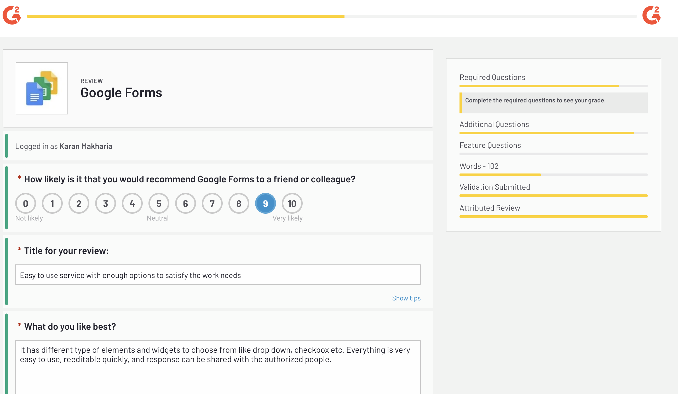 Google forms G2 Review
